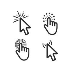 Computer mouse click cursor black arrow icons set. Vector illustration.