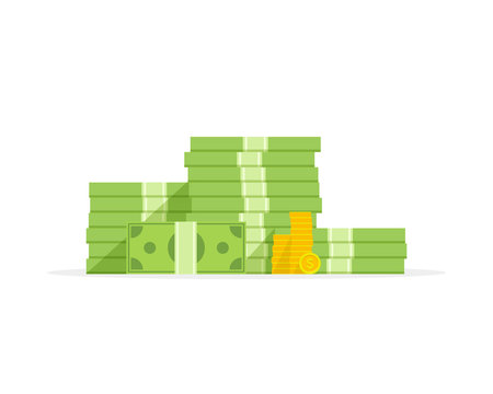 Big pile of money and coins, heap of cash flat cartoon style. Vector illustration.