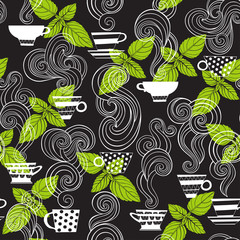 Tea with mint. Seamless vector pattern on black background. Stylish food background.