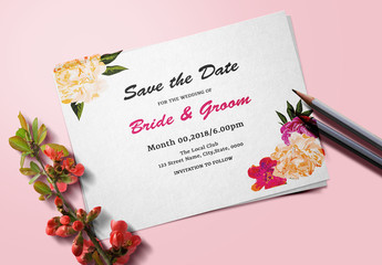 Save the Date Card Layout with Orange and Pink Flowers 1