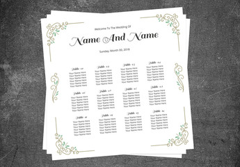 Seating Chart Layout with Gold and Teal Filigree 1