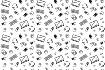 Computer part icons. pattern texture repeating seamless monochrome black and white. computer mouse, keyboard, laptop, flash drive, headphones, column, phone, battery and wi-fi on a white background.