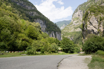 Scenic route to lake Ritsa in Abkhazia. The beautiful Caucasus mountains in the summer