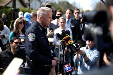 Police and federal agents hold a news conference about two separate bomb explosions in Austin