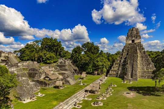 Guatemala. Tikal National Park (UNESCO World Heritage Site). The Grand Plaza with the North Acropolis and Temple I (Great Jaguar Temple)
