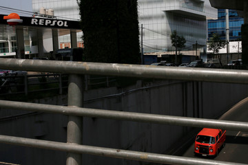 The logo of Spanish energy giant Repsol SA is seen in one of its gas stations in Mexico City