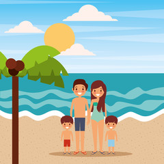 family happy relaxing in the beach vacations vector illustration