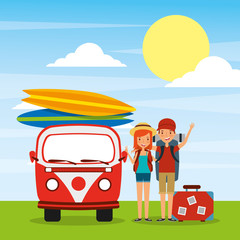 couple travelers car van surfing boards baggage vacations vector illustration