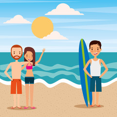people couple and man in beach tropical travelers vacations vector illustration