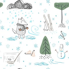 Wolf in winter in a snowy forest during a snowfall. Seamless pattern.