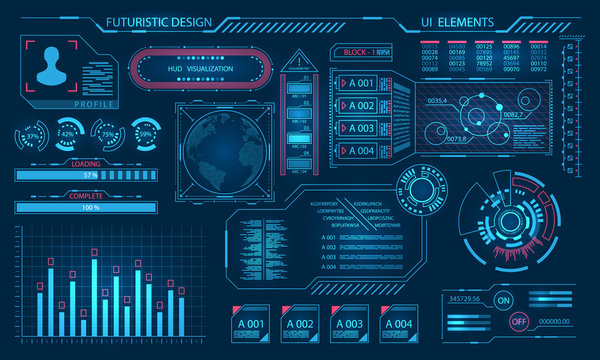Futuristic Virtual Graphic User Interface, HUD Elements