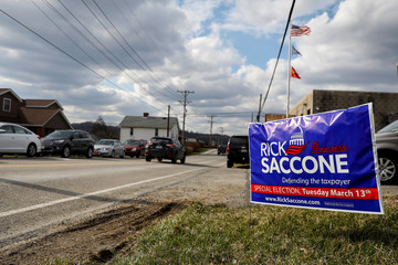 A sign for Republican congressional candidate Rick Saccone is seen in Elizabeth Township, Pennsylvania