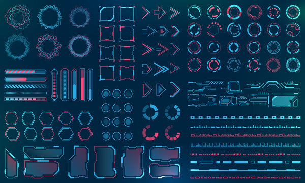 Set HUD Interface Elements - Lines, Circles, Pointers, Frames, Bar Download for Web Applications