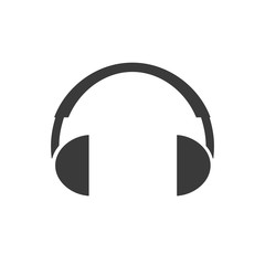 Vector headphones icon. Black symbol silhouette isolated on white background