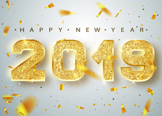 2019 Happy new year. Gold Numbers Design of greeting card of Falling Shiny Confetti. Gold Shining Pattern. Happy New Year Banner with 2018 Numbers on Bright Background. Vector illustration.
