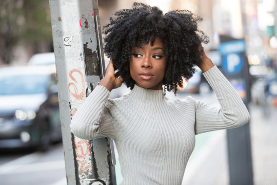 Beautiful African American Woman with black, curly hair