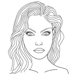 Vector Illustration Of A Girls Face On Pink Viso Di Donna
