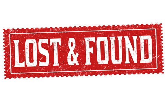 Lost and found grunge rubber stamp