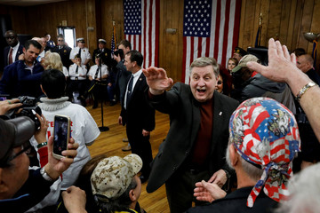 Republican congressional candidate Rick Saccone is greeted by supporters during a campaign event at the Blaine Hill Volunteer Fire dept. in Elizabeth Township