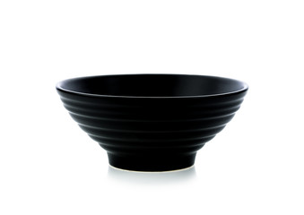 Black bowl on the white background