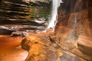 Bottom View of the Waterfall Cachoeira do Mosquito in Chapada dos Dimantina Located in the State of Bahia, Brazil