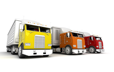 Logistics concept. Group of american freightliner cargo trucks isolated on white background. Front view. 3D illustration
