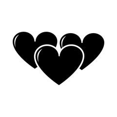 silhouette hearts love symbol of passion design icon