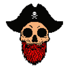 Pixel art pirate skull with captain hat