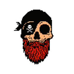 Pixel art pirate skull