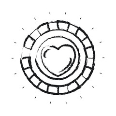 blurred silhouette front view coin with heart symbol inside vector illustration