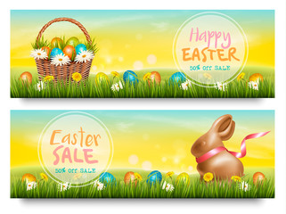Two Easter Sale banners. Colorful eggs and chocolate bunny on green grass. Vector.