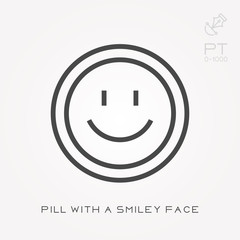 Line icon pill with a smiley face