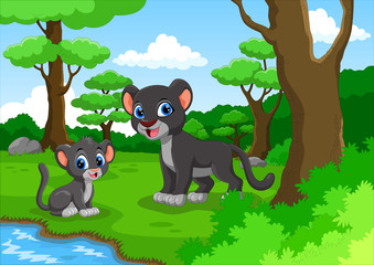 Black panther cartoon in the forest with his cute son