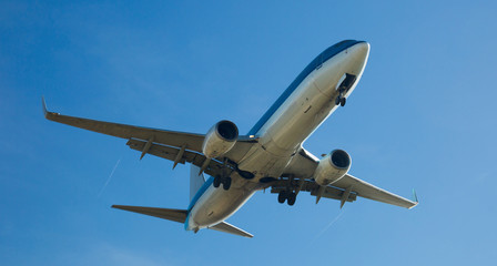 Passenger plane departing in afternoon