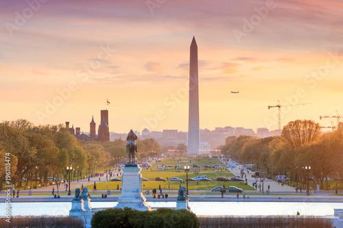 Wall mural Washington DC city view at a orange sunset, including Washington