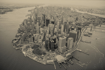 Wall Mural - Aerial view of Manhattan skyline at sunset, New York City
