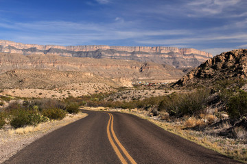 Scenic Highway through Big Bend National Park in the State of Texas