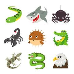 Funny Animal Reptile Cartoon Vector illustration Icon Set
