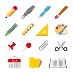 Draw Paint Stationery Object School Vector illustration