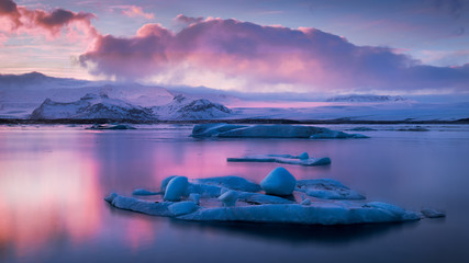 Jokulsarlon Glacier Lagoon at sunset during winter in Iceland