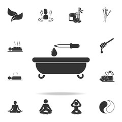 bath and a drop of oil with a pipette icon. Detailed set of SPA icons. Premium quality graphic design. One of the collection icons for websites, web design, mobile app