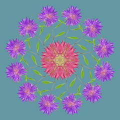 Ornamental pattern mandala with floral elements