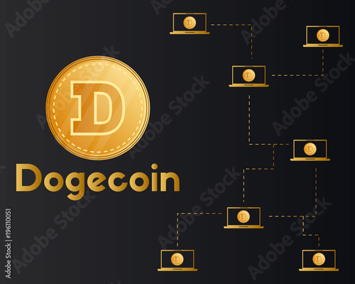 Dogecoin blockchain technology style background