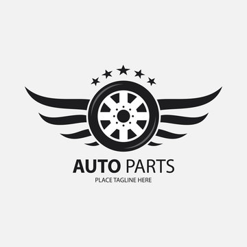 Winged black wheel template on white background