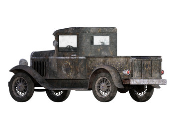 Old Rusty Pickup Truck isolated on white, 3d render.