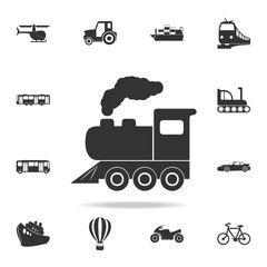 Locomotive icon. Detailed set of transport icons. Premium quality graphic design. One of the collection icons for websites, web design, mobile app
