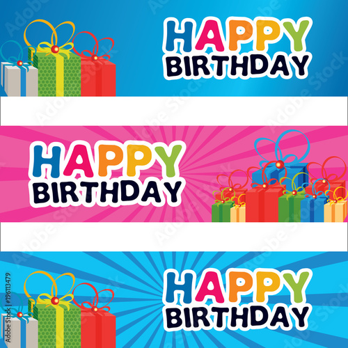 """happy Birthday Banner Design Element With Gift Box"