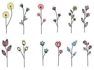 Flower doodle set.