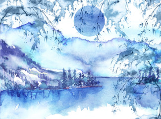 Watercolor mountain landscape, blue, purple mountains, tree, peak, forest silhouette, reflection in the river, lake, clouds, fog. Watercolor painting, illustration, landscape