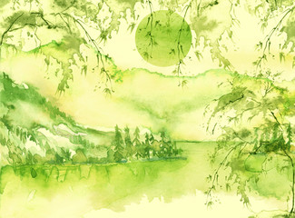 Watercolor mountain landscape, green, yellow mountains, tree, peak, forest silhouette, reflection in the river, lake, clouds, fog. Watercolor painting, illustration, landscape